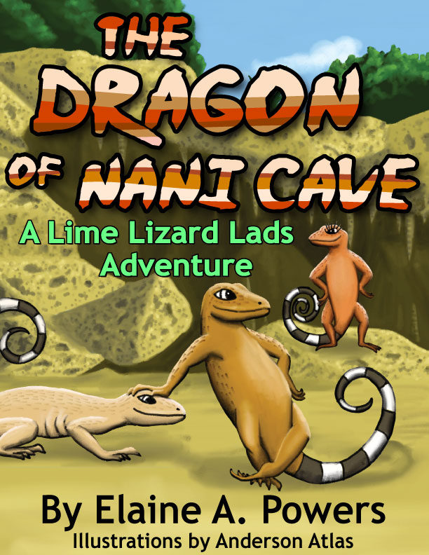 colorful children's book cover with illustrations of curly-tail lizards