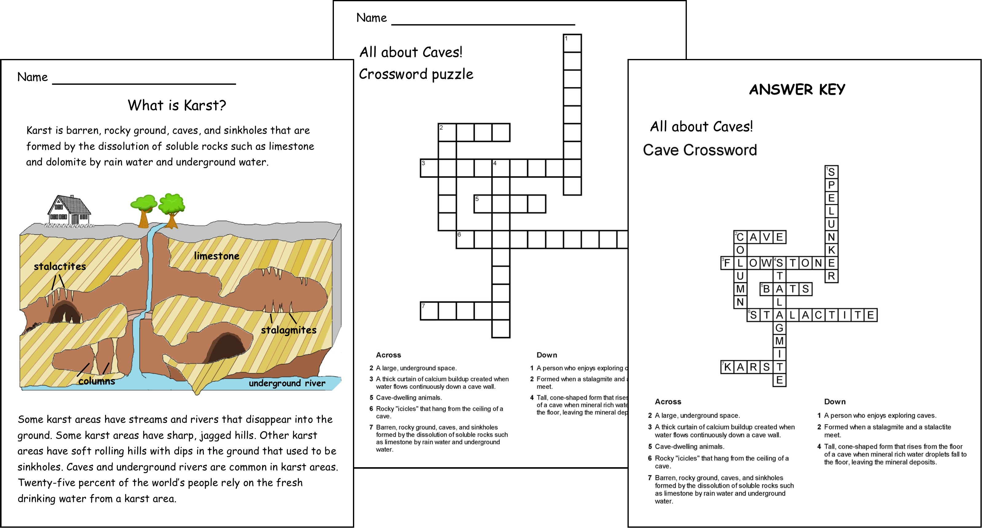 caves karst and cave crossword and answer key