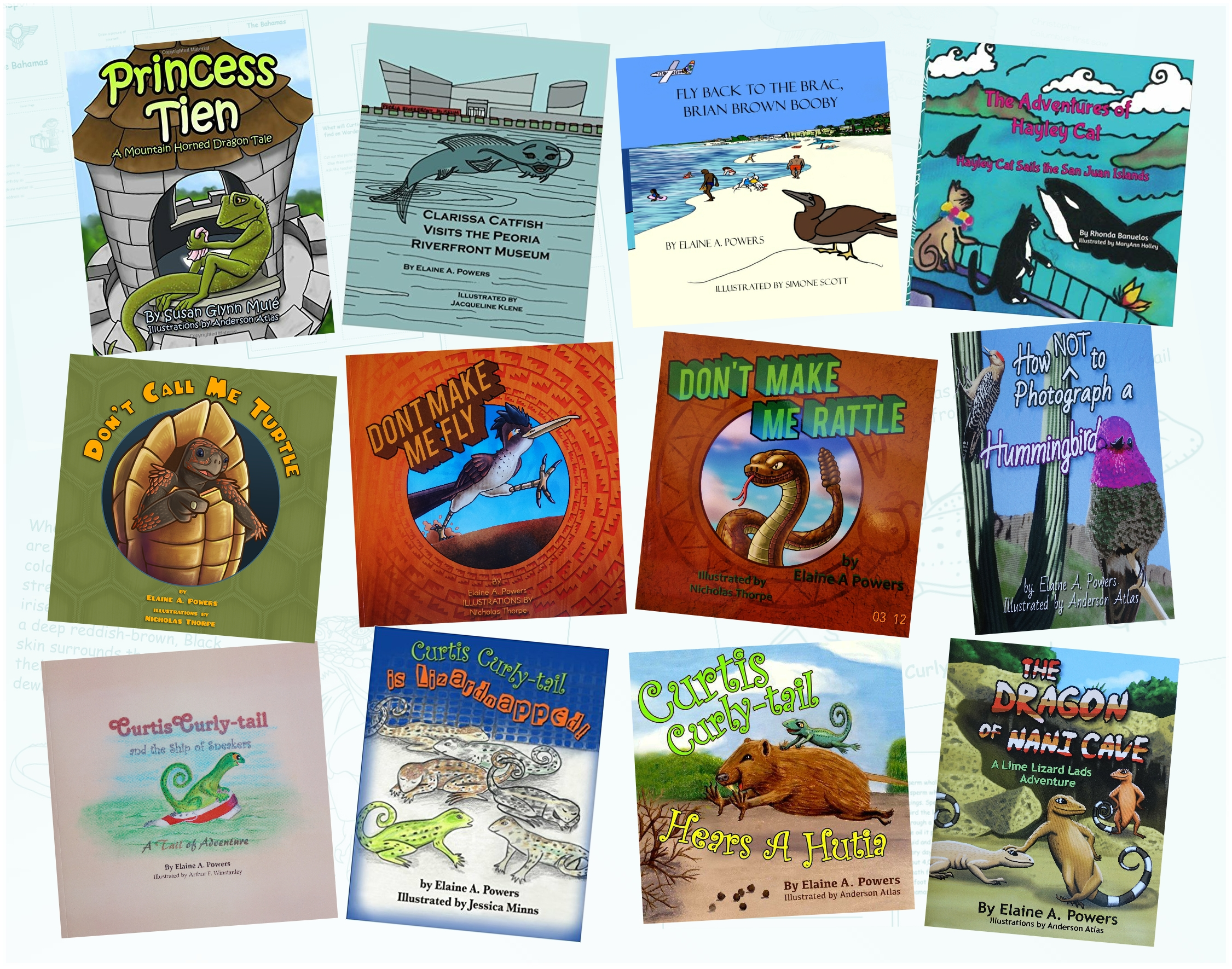 collage of colorful science-based children's books