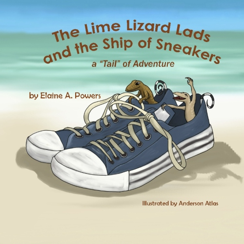 book cover, with beach and ocean, a pair of sneakers, with curly-tail lizards in them