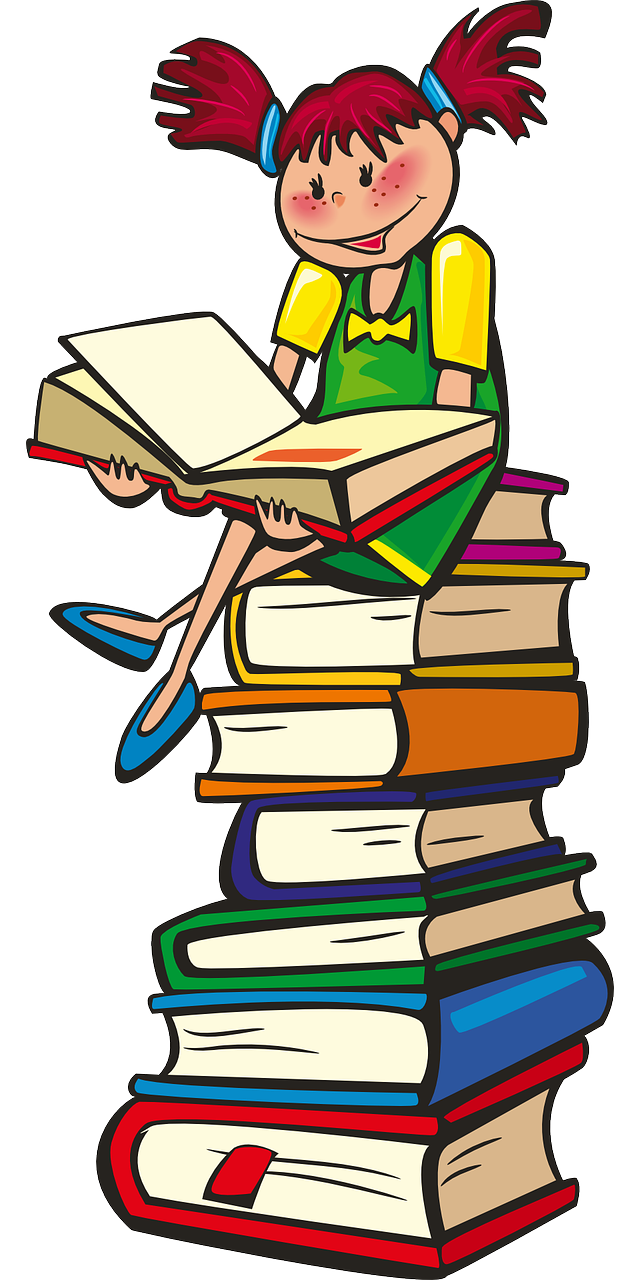Colorful Illustration of young girl sitting on a stack of books, with a book open on her lap, reading.