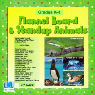 green and yellow book cover with photos of animals from Cayman Brac