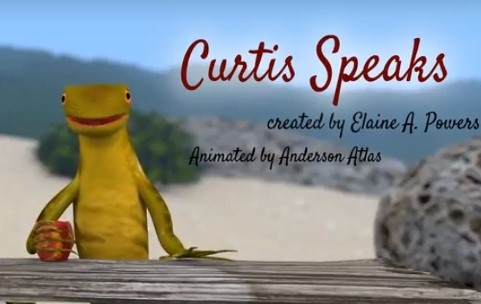 "A yellow green curly-tail lizard stands behind a table on an island, with the words ""Curtis Speaks"" above him"