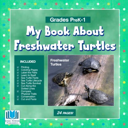 a green book cover with an image of freshwater turtles