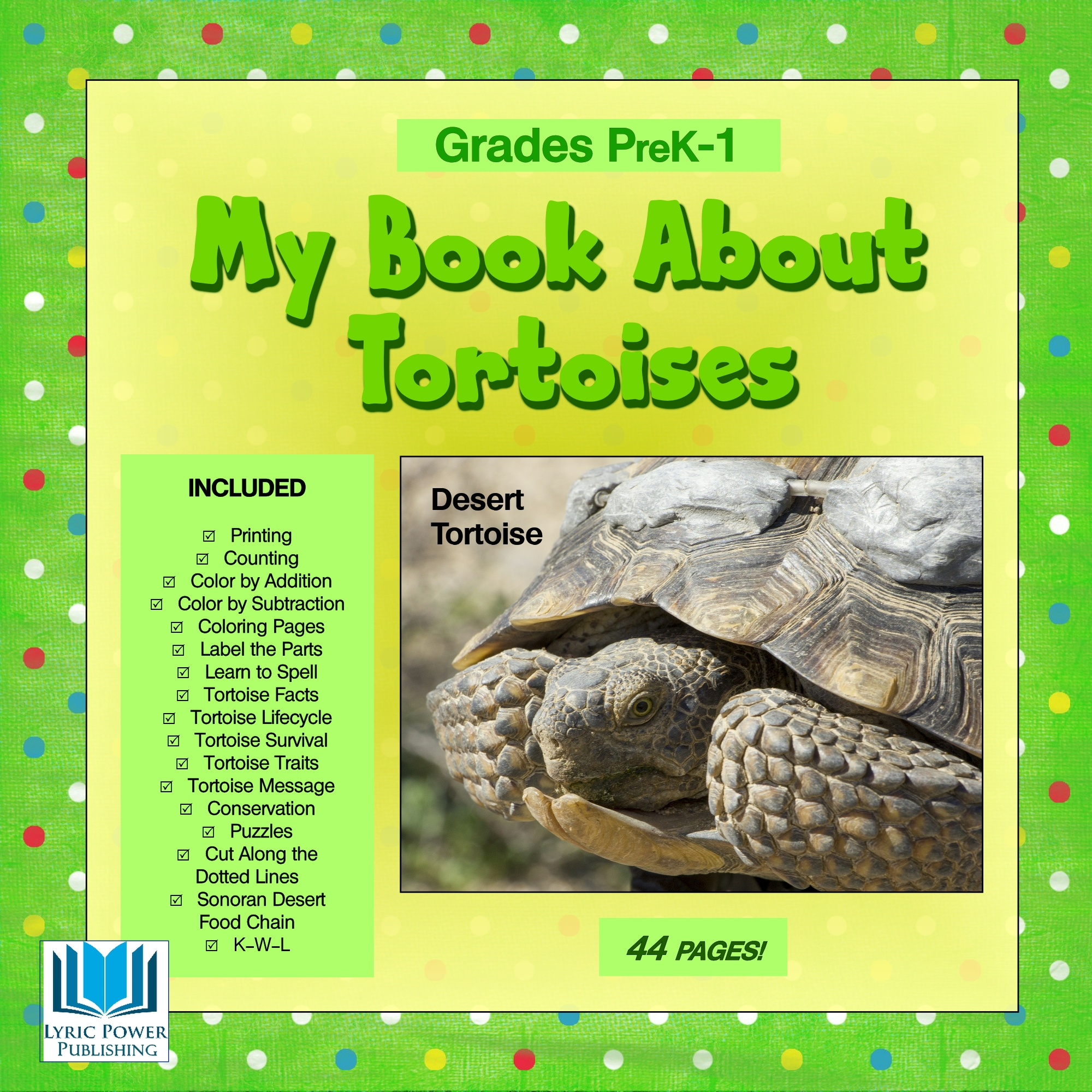 a yellow and green book cover with an image of a desert tortoise