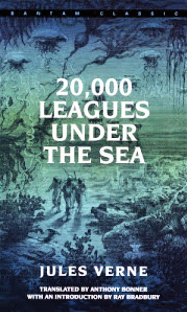 A dark and light blue book cover, under the ocean, with sea animals and three humans in ocean suits walking on the ocean floor