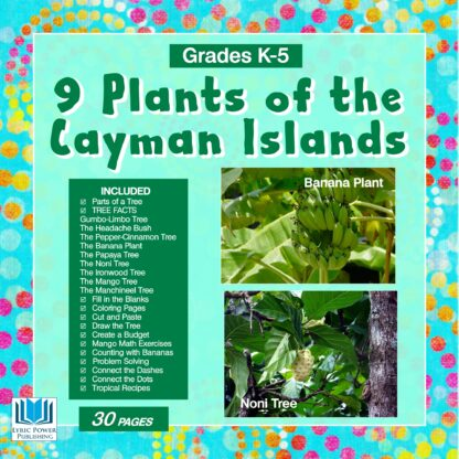 a turquoise and green book cover with images of a banana plant and a Noni tree
