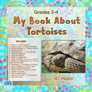a white and blue book cover with an image of a desert tortoise