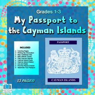 a blue and turquoise book cover with an image of Cayman Islands passport cover