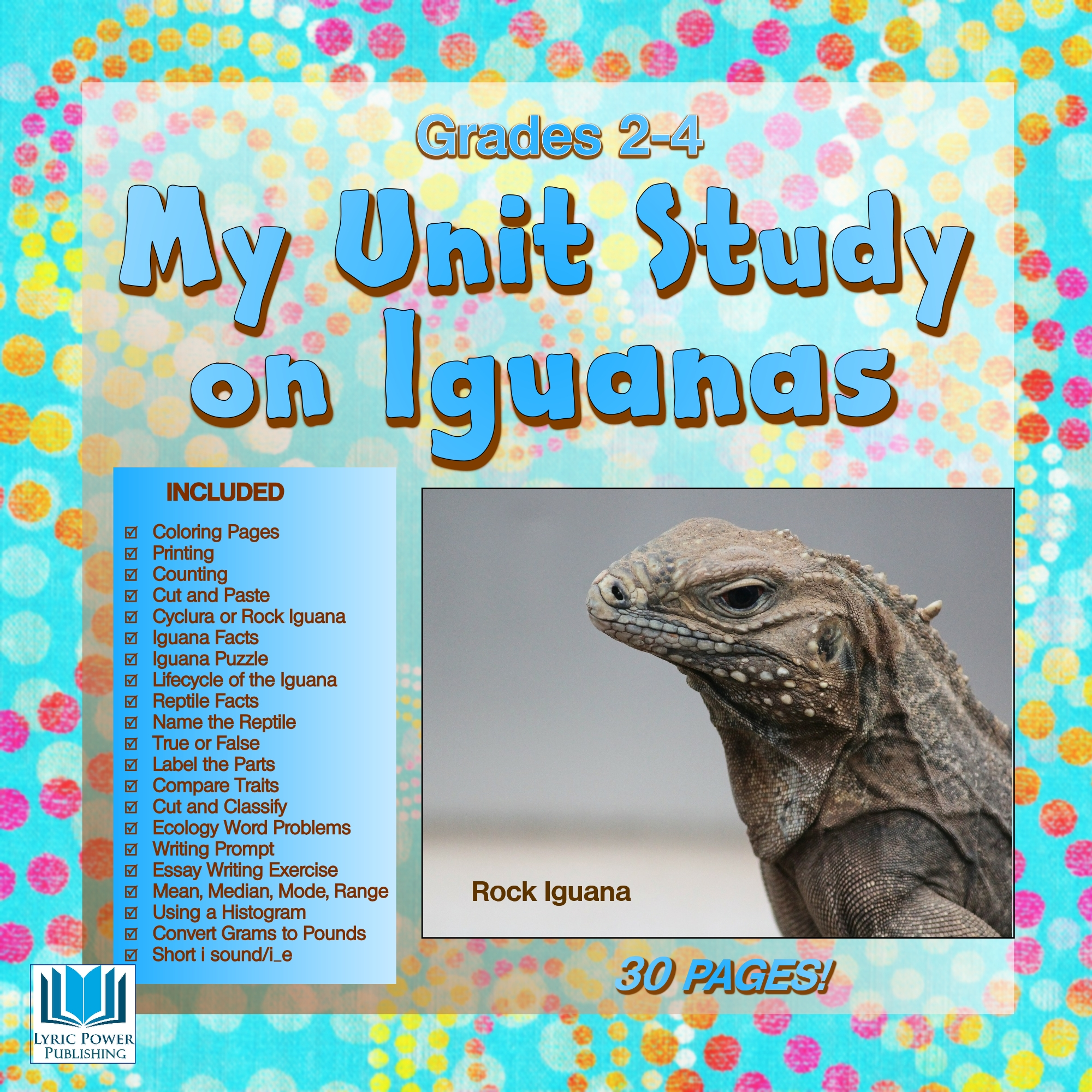 a white and light blue book cover with an image of an iguana's head