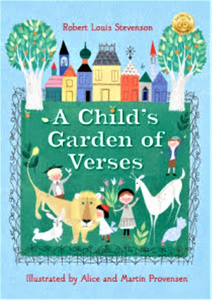 a blue and green book cover with children and animals, trees and houses on the cover