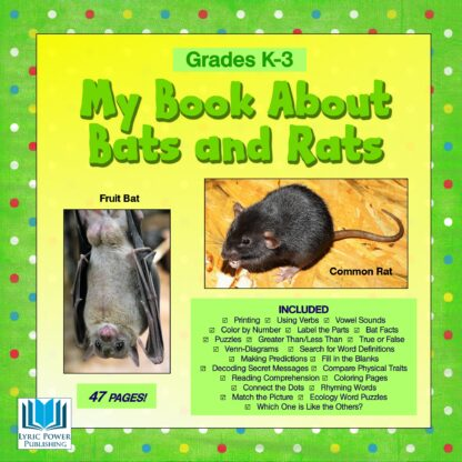 a yellow and green book cover with an image of a fruit bat and a common rat