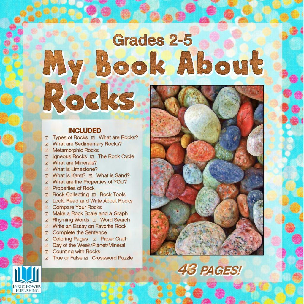A light blue and white book cover with an image of multi-colored river rocks