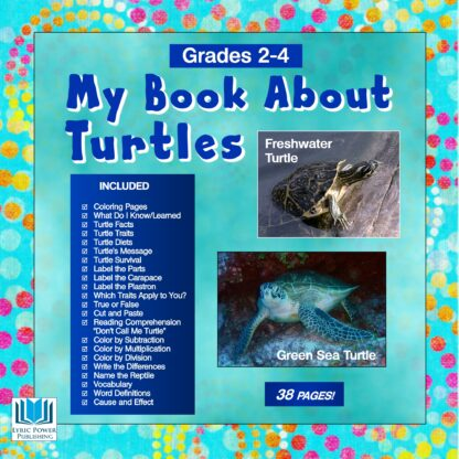 A light blue book cover with images of freshwater turtle and green sea turtle