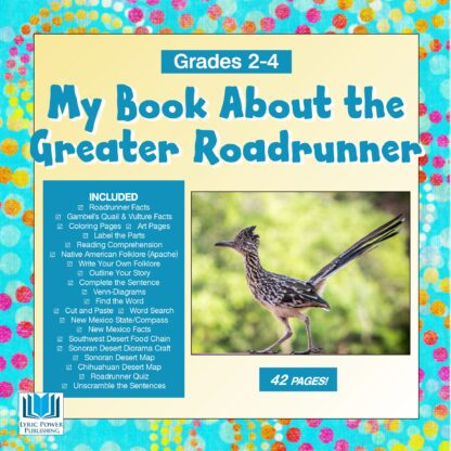 a turquoise and yellow book cover with an image of the Greater Roadrunner