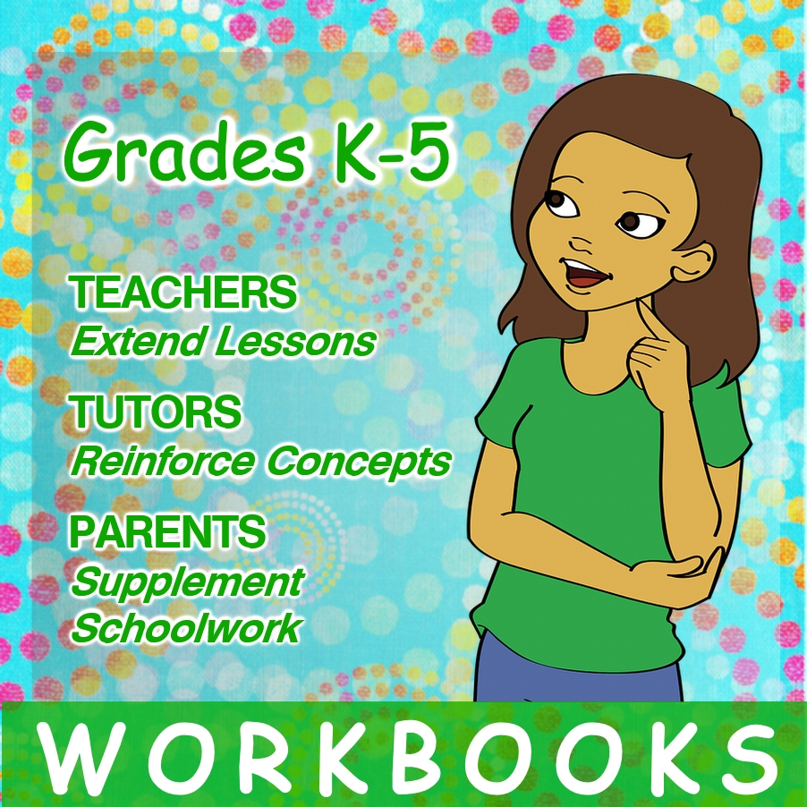 5th Grade cartoon girl standing looking at workbook info