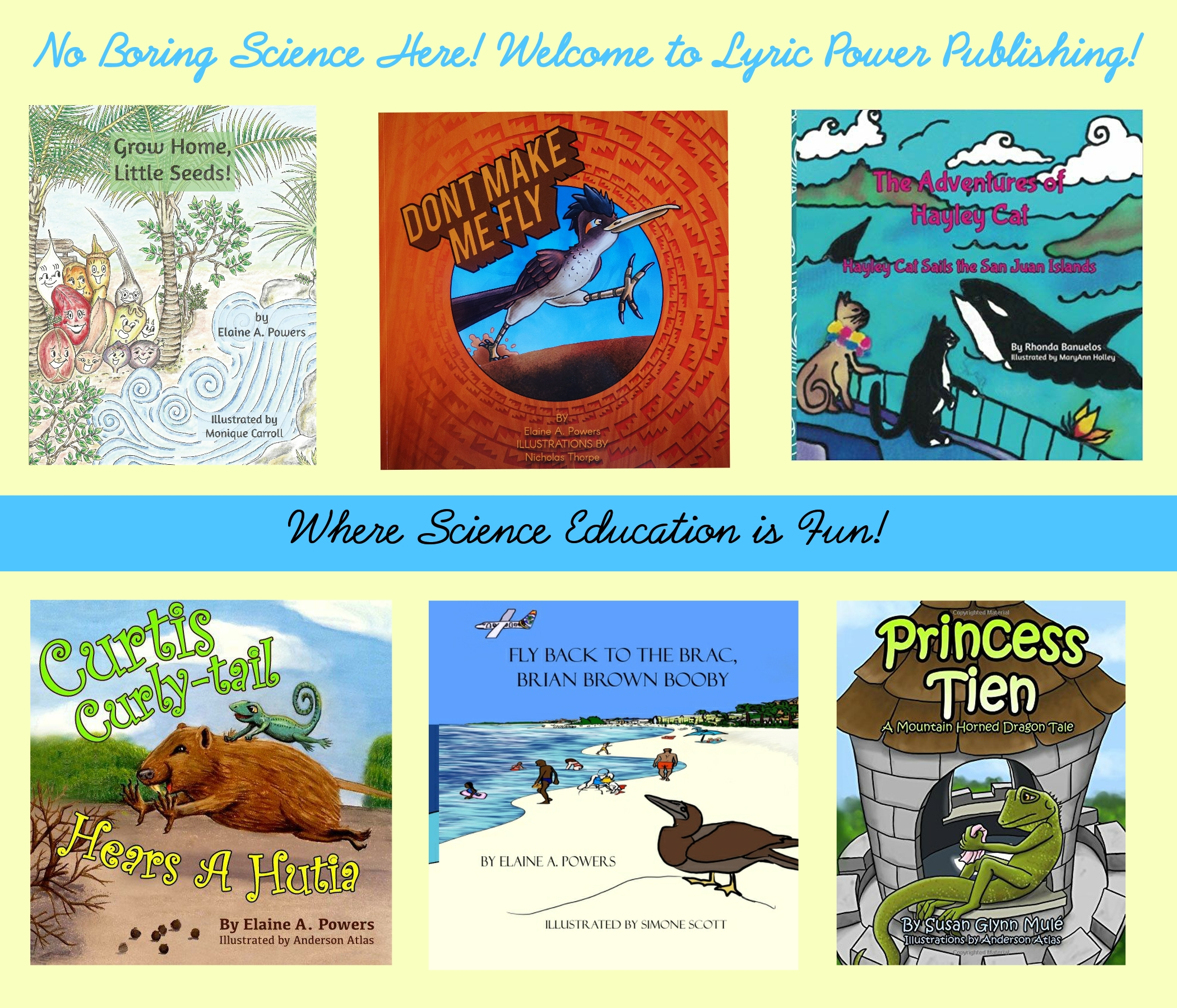 collage of science-based children's books