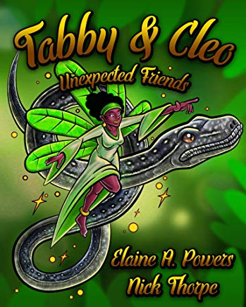 A bright green children's book cover, showing a Five-Fingered Fairy riding a Bahamian Boa