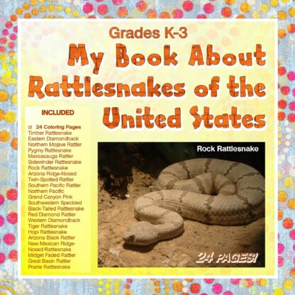 A book cover, dotted background, orange letters My Book About Rattlesnakes of the United States, with a list of all rattlers