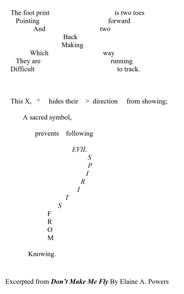 An image of a typed poem, with the letters in the shape of the subject of the poem: the X of the roadrunner's footprint and how it confuses any evil spirits that are following.