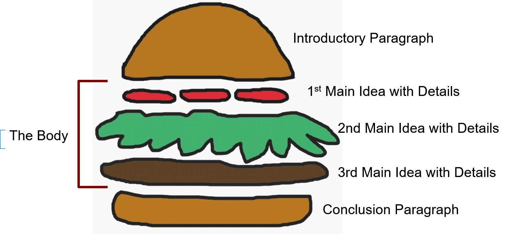 An image of the layers of a hamburger, used to illustrate the five parts of an effective essay