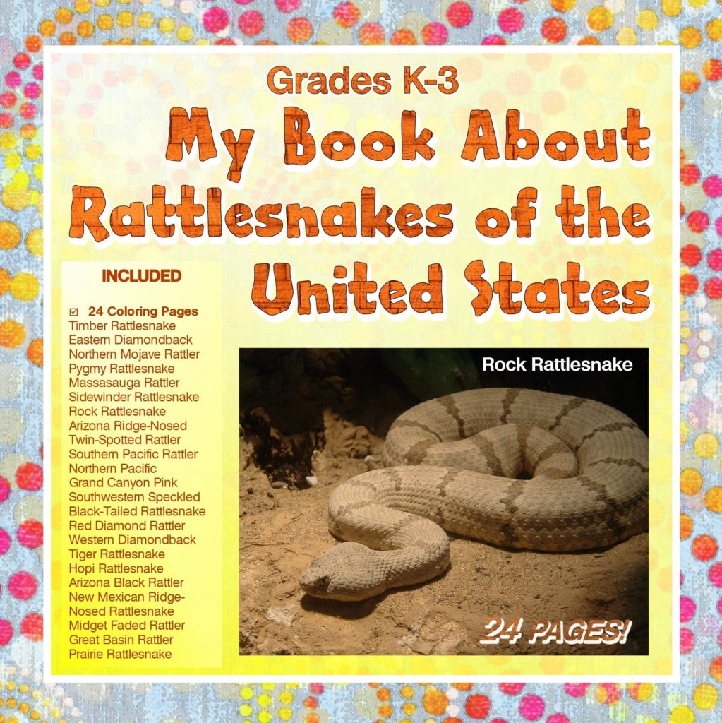 A children's book cover, yellow with polka dots, with image of a rock rattlesnake and list of included supplemental educational worksheets