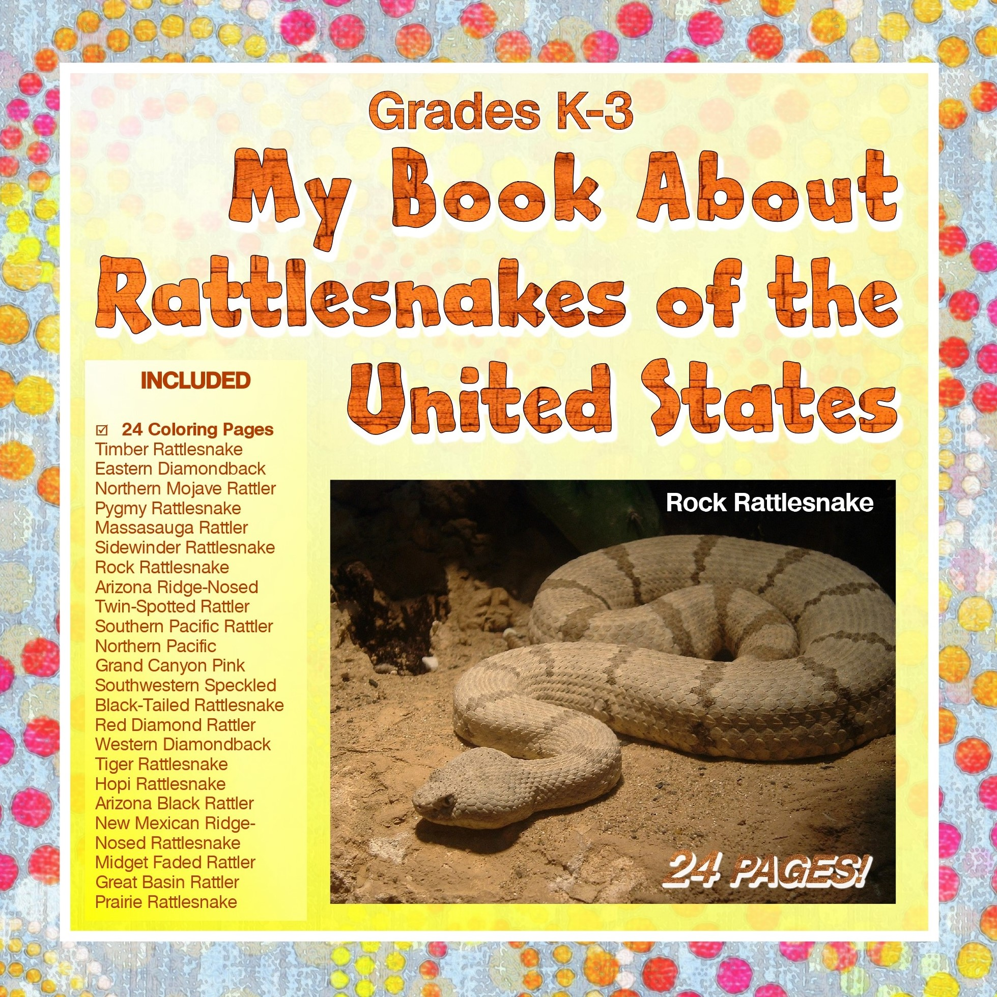 yellow book cover with rattlesnake image and list of workbook pages