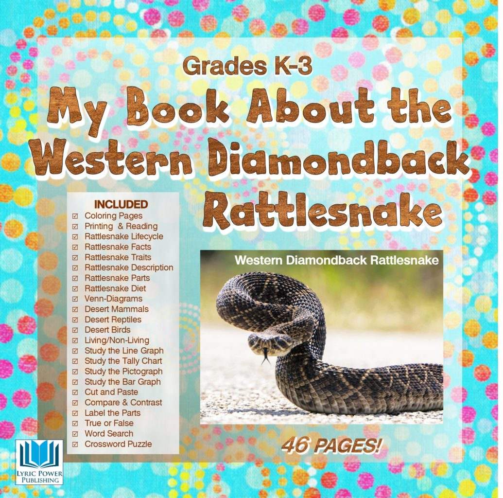 A children's book cover, turquoise with polka dots, with image of western diamondback rattlesnake and list of included supplemental educational worksheets