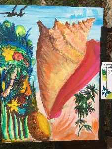 The colorful group painting is complete, the face on the left looking a part of nature with the completed conch shell and other plants on the right. Two birds fly off the painting in the upper left corner.