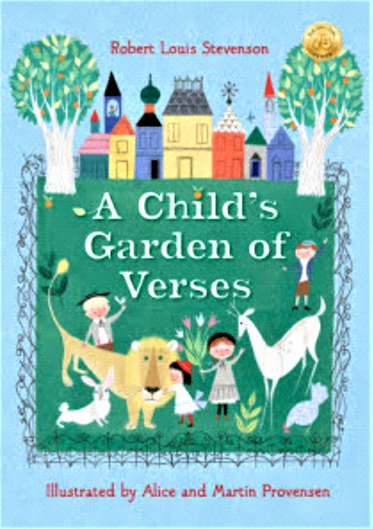 A green and blue book cover, with a castle, title: A Child's Garden of Verses