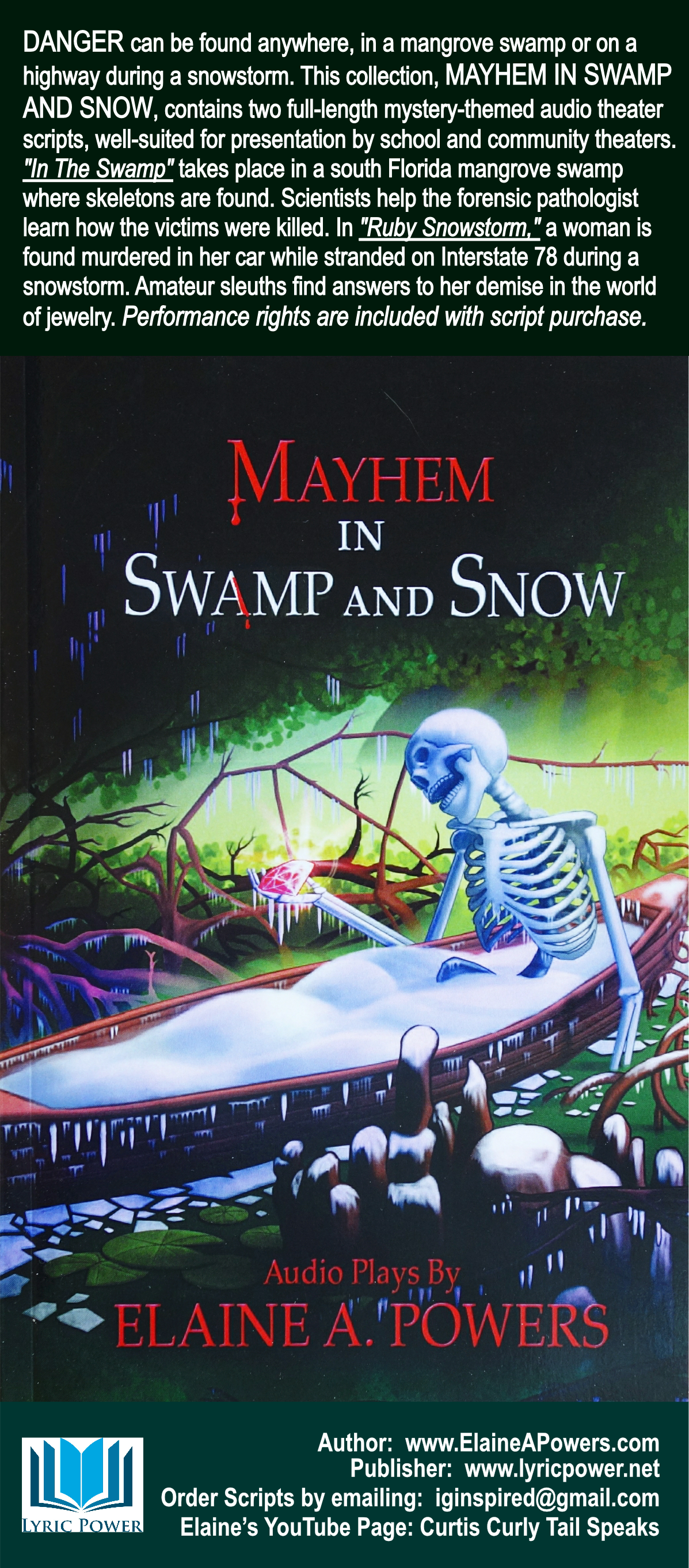 A black book cover, with an illustration of a skeleton in a canoe, in a swamp