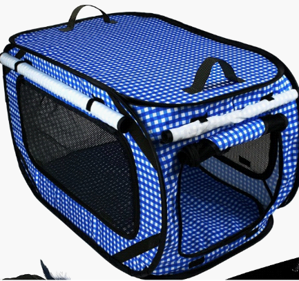 an image of a blue, soft-sided pet carrier