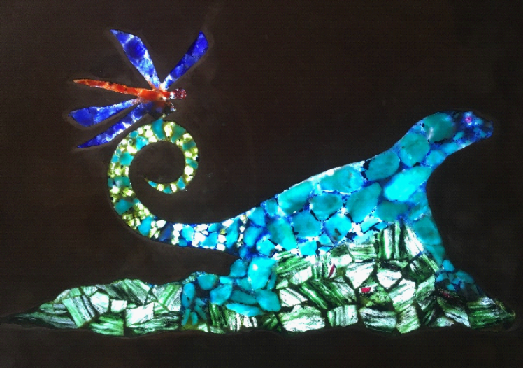 wall art of a Curly-tail lizard, lighted, sculpture of sliced gemstones and metal