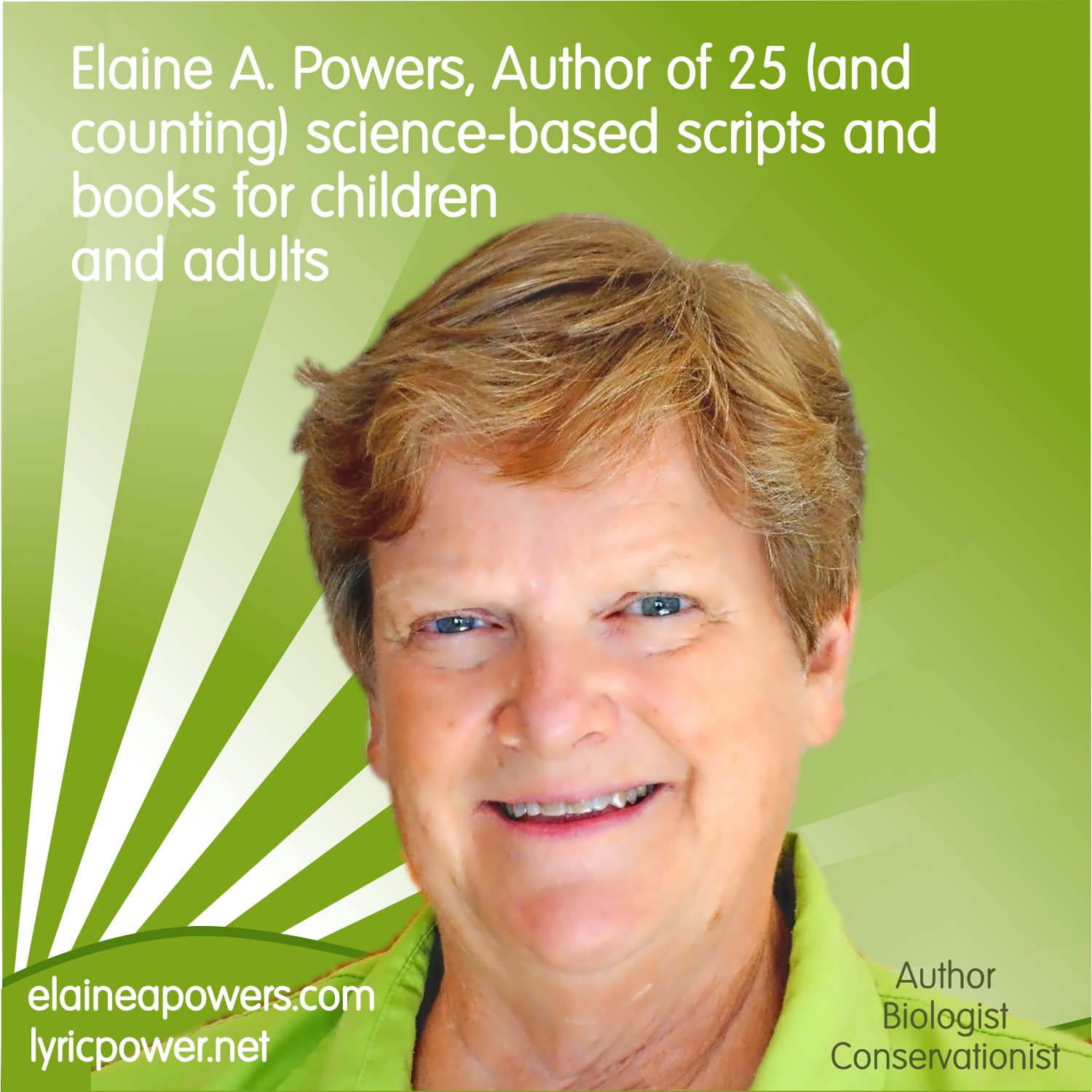 The author Elaine A. Powers head shot against a green background