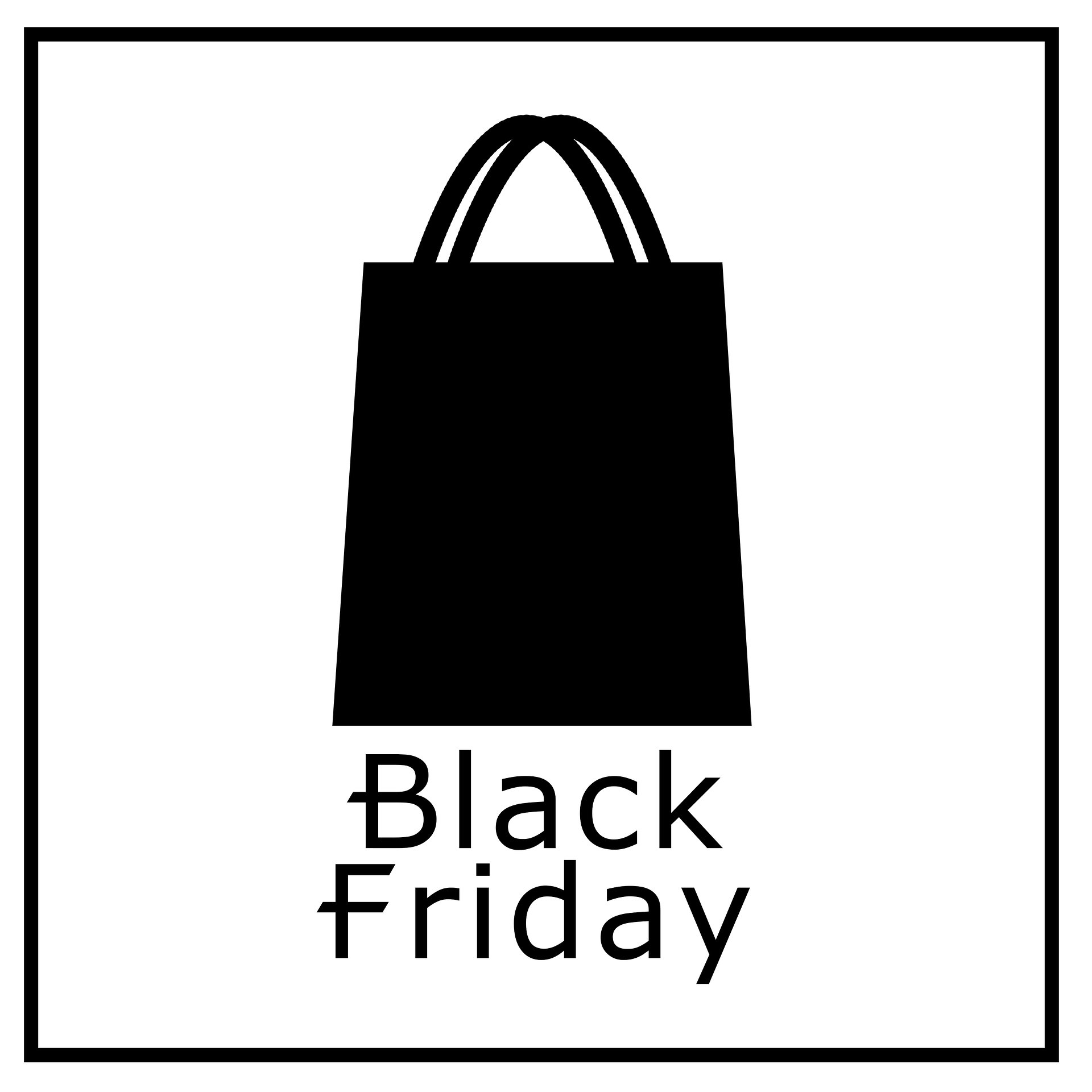 "graphic, white with black shopping bag and the words ""black Friday"""