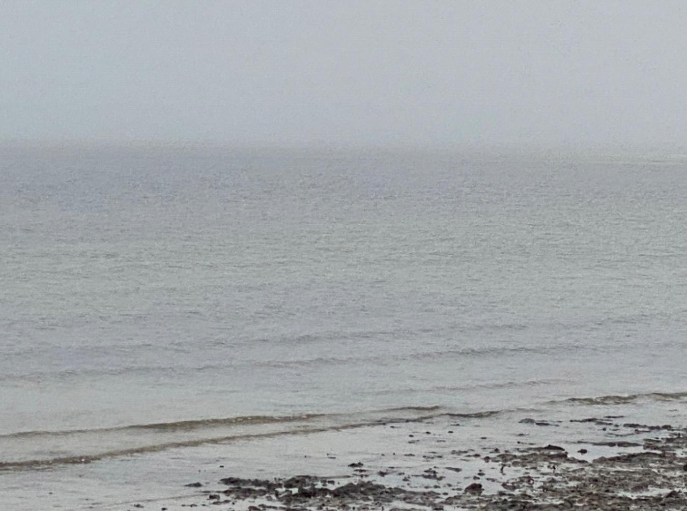 a gray, foggy ocean scene