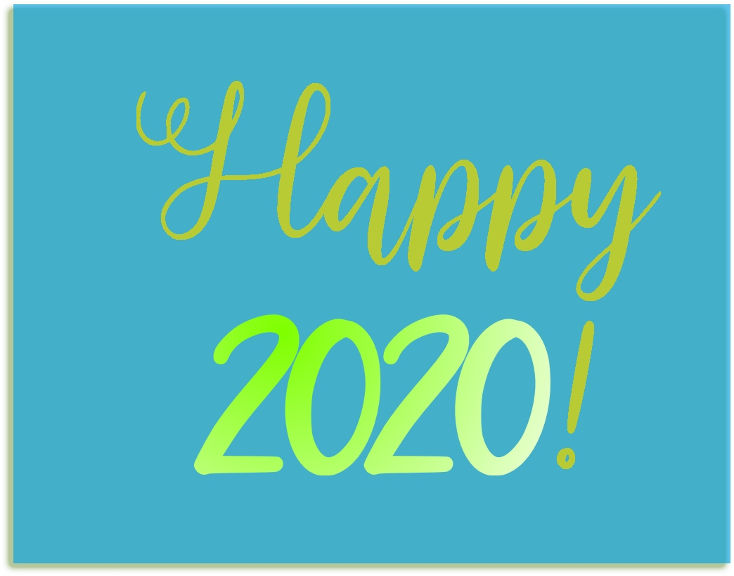 A graphic with blue background and the words Happy 2020 in green