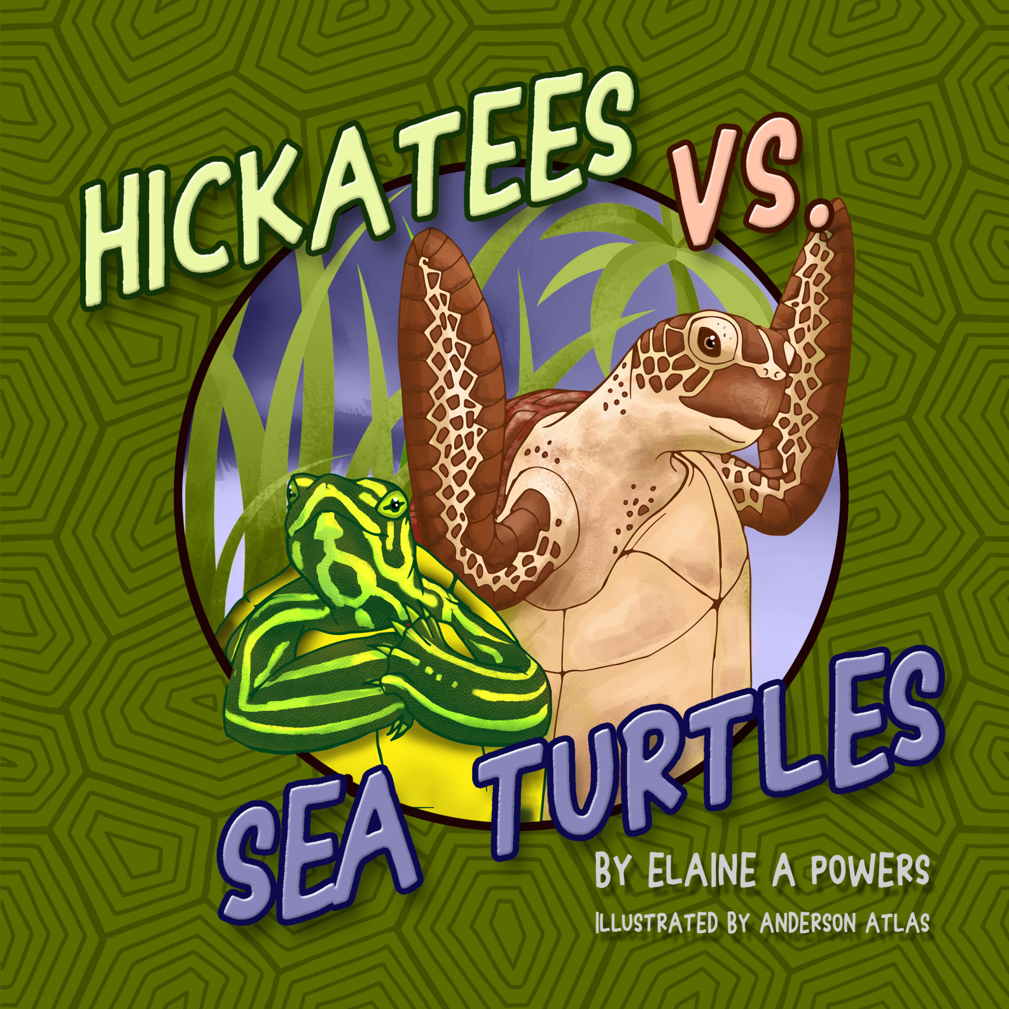 a green book cover with illustrations of a hickatee and a sea turtle