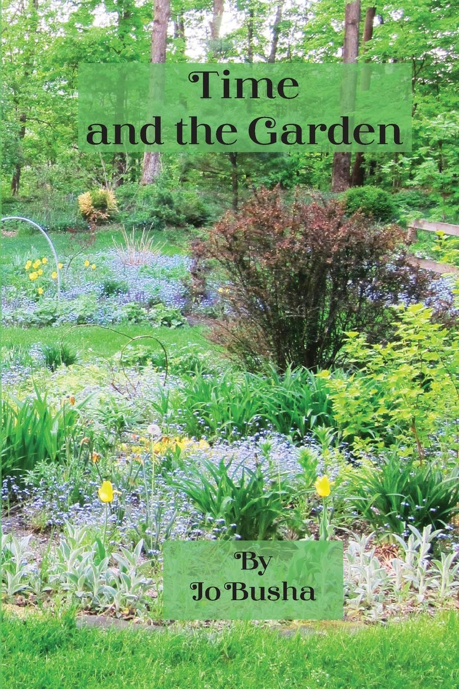 a book cover with a photo of a lush, Vermont garden