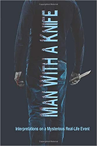 Dark book cover showing a man holding a knife