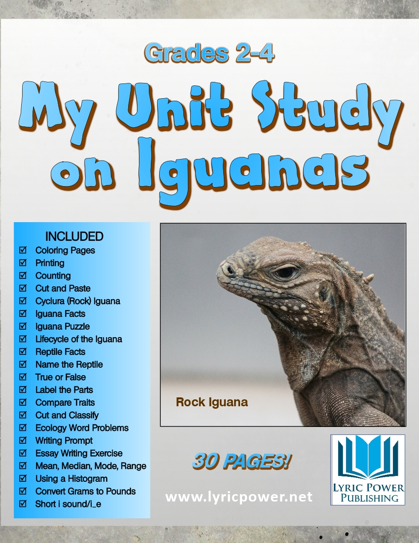 a book cover featuring a blue iguana, listing all of the work and activity sheets included