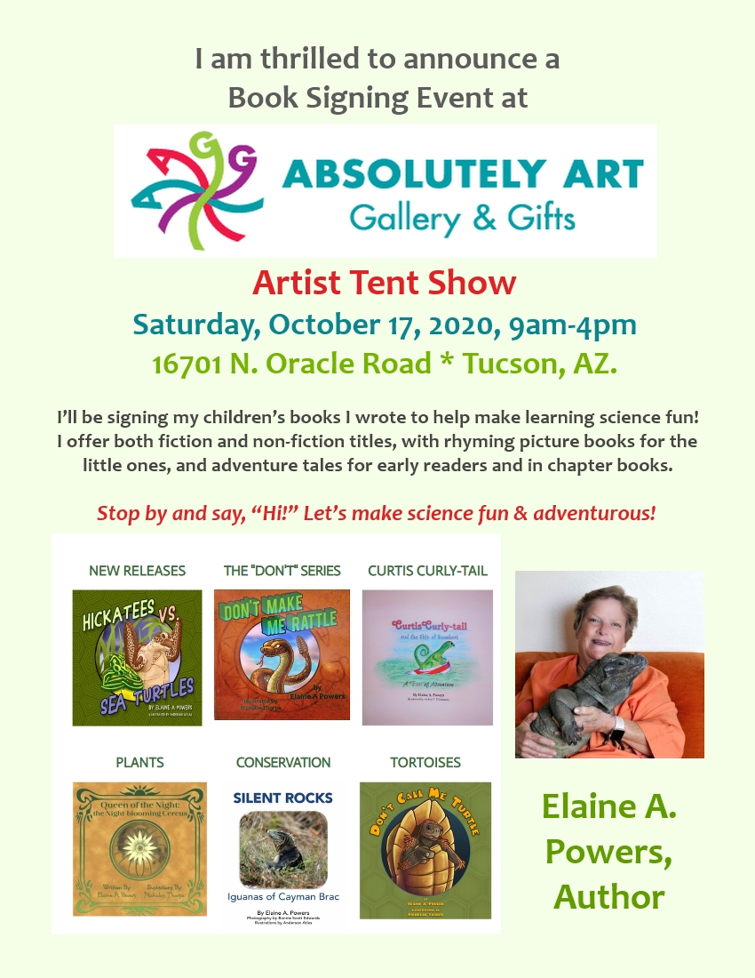 a flyer for an Oct 17 book signing event with Elaine A. Powers